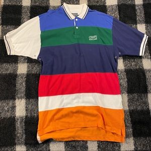 Vtg NWT 90s colorblock striped polo top lg